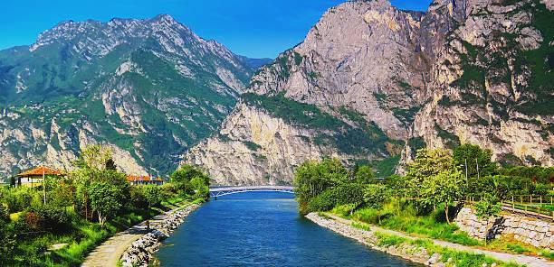 Sarca River as it flows into Lake Garda, Italy